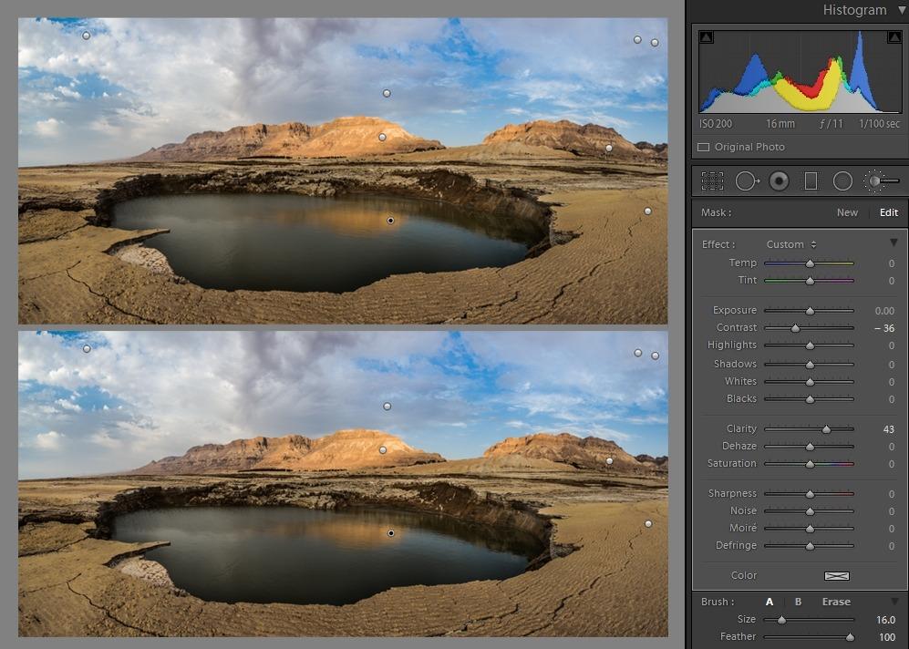 Editing landscape photos - Adjustment brush comparison
