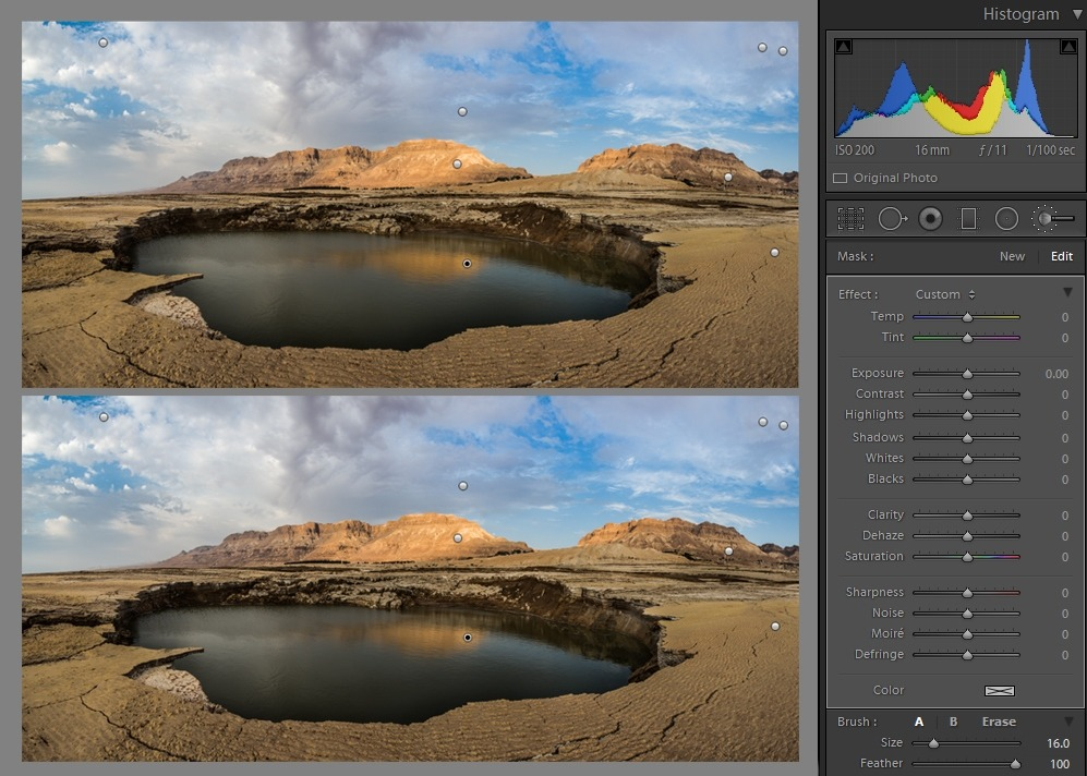 Editing landscape photos - Adjustment brush comparison