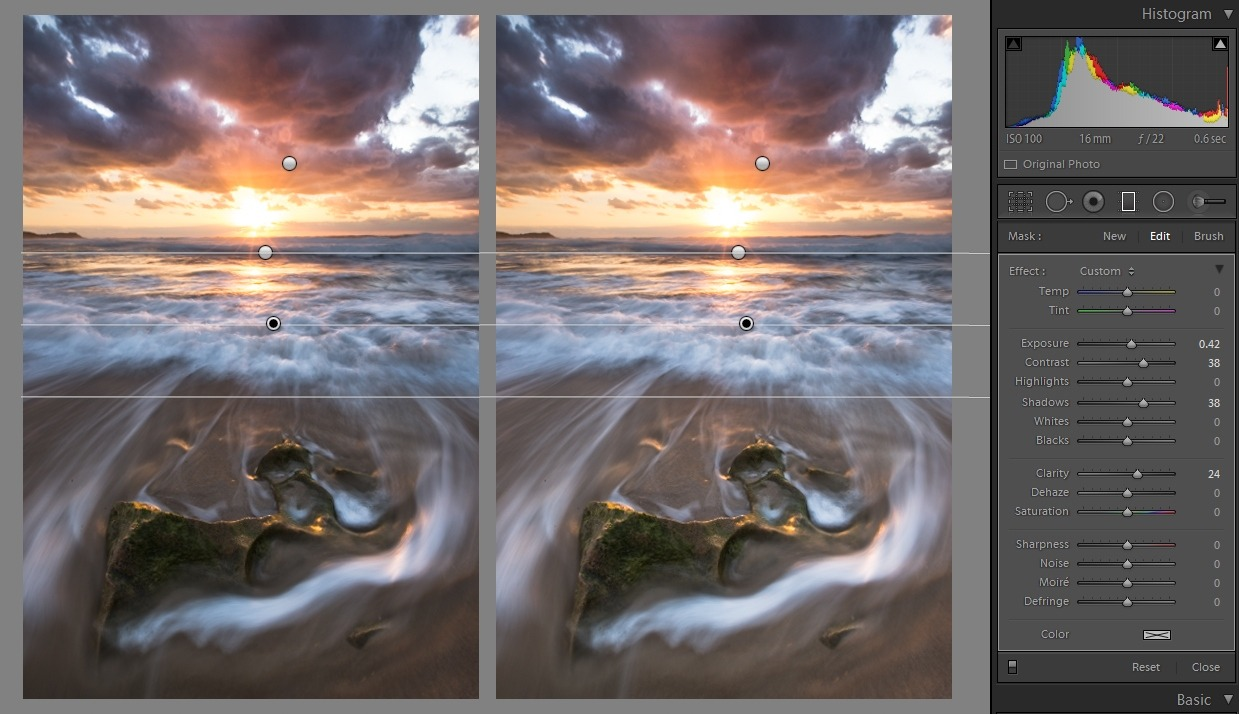 Editing landscape photos - Graduated filter comparison