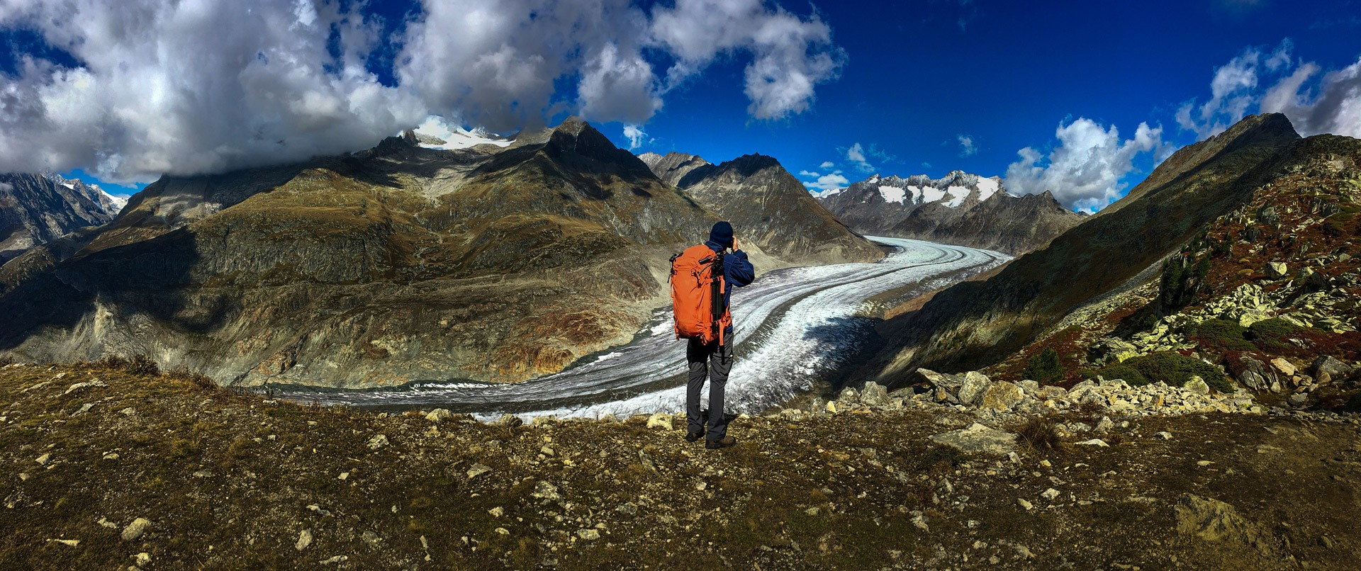 Tomer Razabi photographing at Aletsch glacier in Switzerland