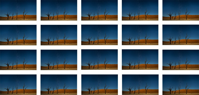 רצף תמונות עבור יצירת תמונה של שבילי כוכבים