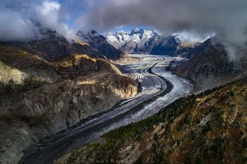 צילום אווירי של קרחון אלץ' בשוויץ קורס צילום נוף - תומר רצאבי