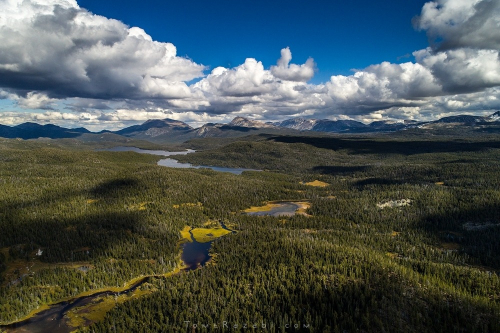 Aerial drone landscape photo of British Columbia mountains area in Canada - Tomer Razabi