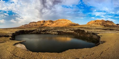 בולען בים המלח בזריחה צילום נוף - תומר רצאבי