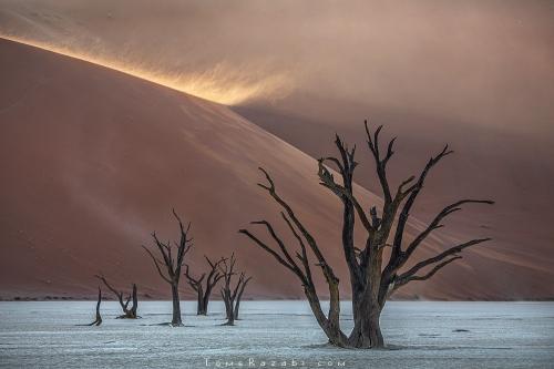 Landscape photography of sunrise at Deadvlei Namibia - Tomer Razabi